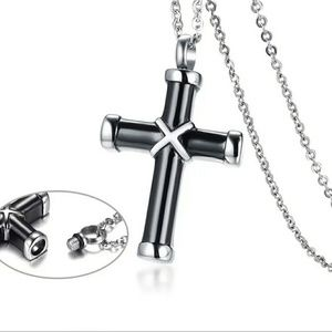 Jewelry - Black cross cremation urn necklace